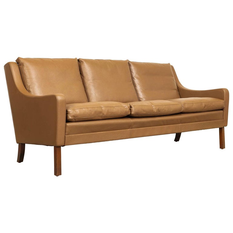 Vintage Midcentury Danish Modern Brown Leather Three-Seat Sofa, 1960s For Sale