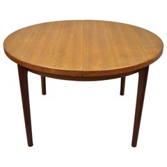 Mid-Century Danish Modern Round Teak Extension Dining Table with 2 Leaves