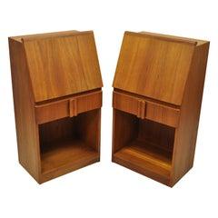 Vintage Mid Century Danish Modern Teak Bedside Cabinet Nightstands, a Pair