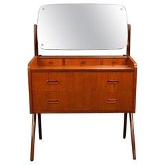 Vintage Midcentury Danish Modern Teak Vanity Dresser
