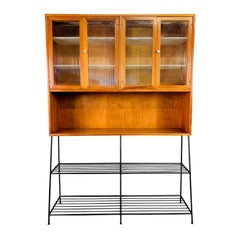 "Vintage Midcentury Drexel ""Declaration"" Hutch with Custom Made Metal Base"