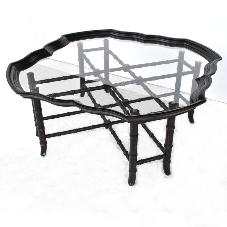 Vintage Midcentury Faux Bamboo Baker Coffee Table For Sale