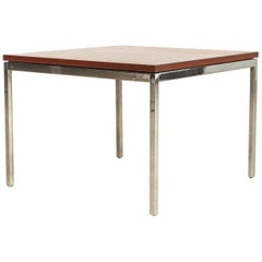 Vintage Midcentury Florence Knoll for Knoll Square Wood and Steel Coffee Table