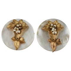 Vintage Mid Century French Mother of Pearl Jeweled Disc Earrings