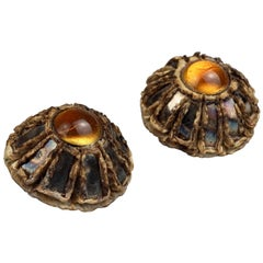 Vintage Mid Century French TALOSEL Mirror Cabochon Earrings
