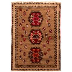 Vintage Midcentury Gabbeh Geometric Beige-Brown and Red Wool Persian Tribal