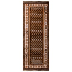 Vintage Midcentury Geometric Beige Brown and White Wool Persian Qazvin Kilim