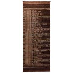 Vintage Midcentury Geometric Beige Brown Wool Persian Baluch Kilim
