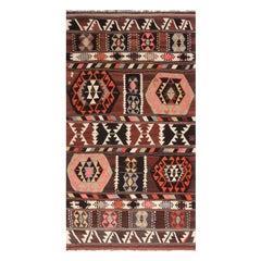 Vintage Mid-Century Geometric Black-Brown and Pink Wool Kilim Rug