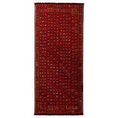 Vintage Midcentury Geometric Burgundy Red and Brown Wool Persian Verneh Kilim