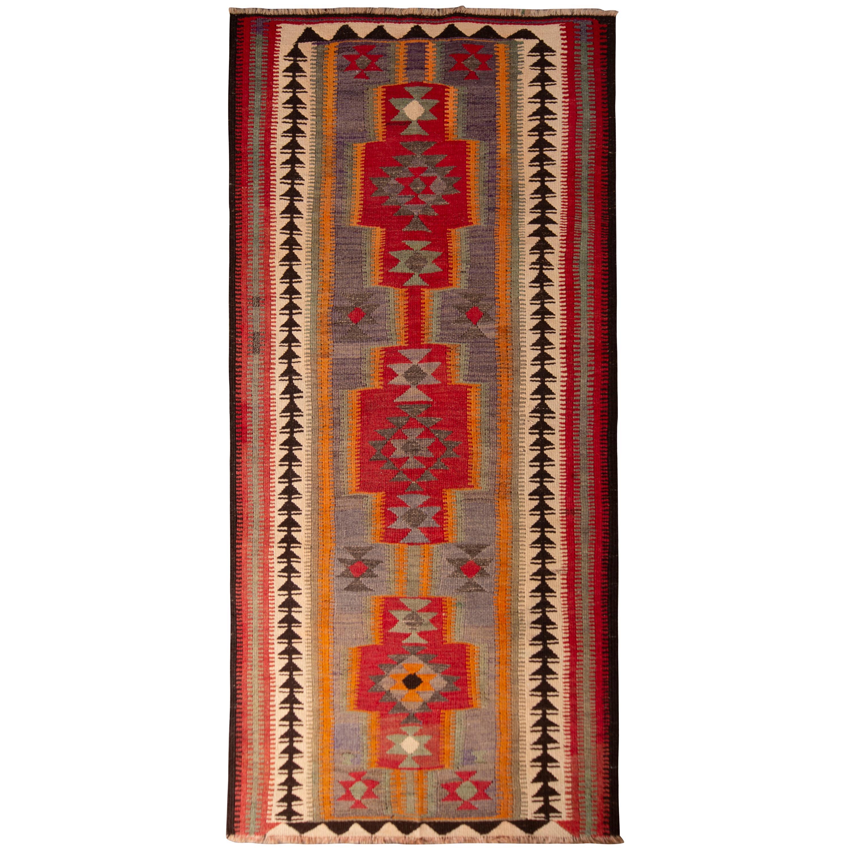 Vintage Midcentury Geometric Red and Blue Wool Kurdish Persian Kilim