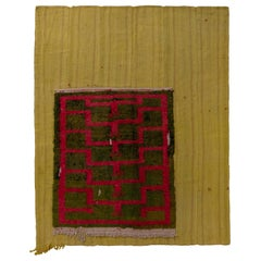 Vintage Midcentury Geometric Red and Green Layered Wool Flat-Weave