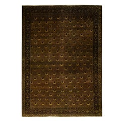 Vintage Mid-Century Golden-Brown and Green Wool Rug with Yellow Floral Accents