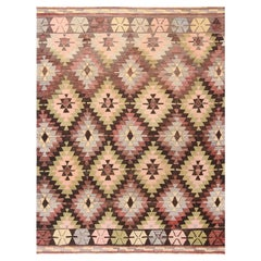 Vintage Mid-Century Green and Purple Wool Kilim Rug with Blue-Pink Tribal Notes