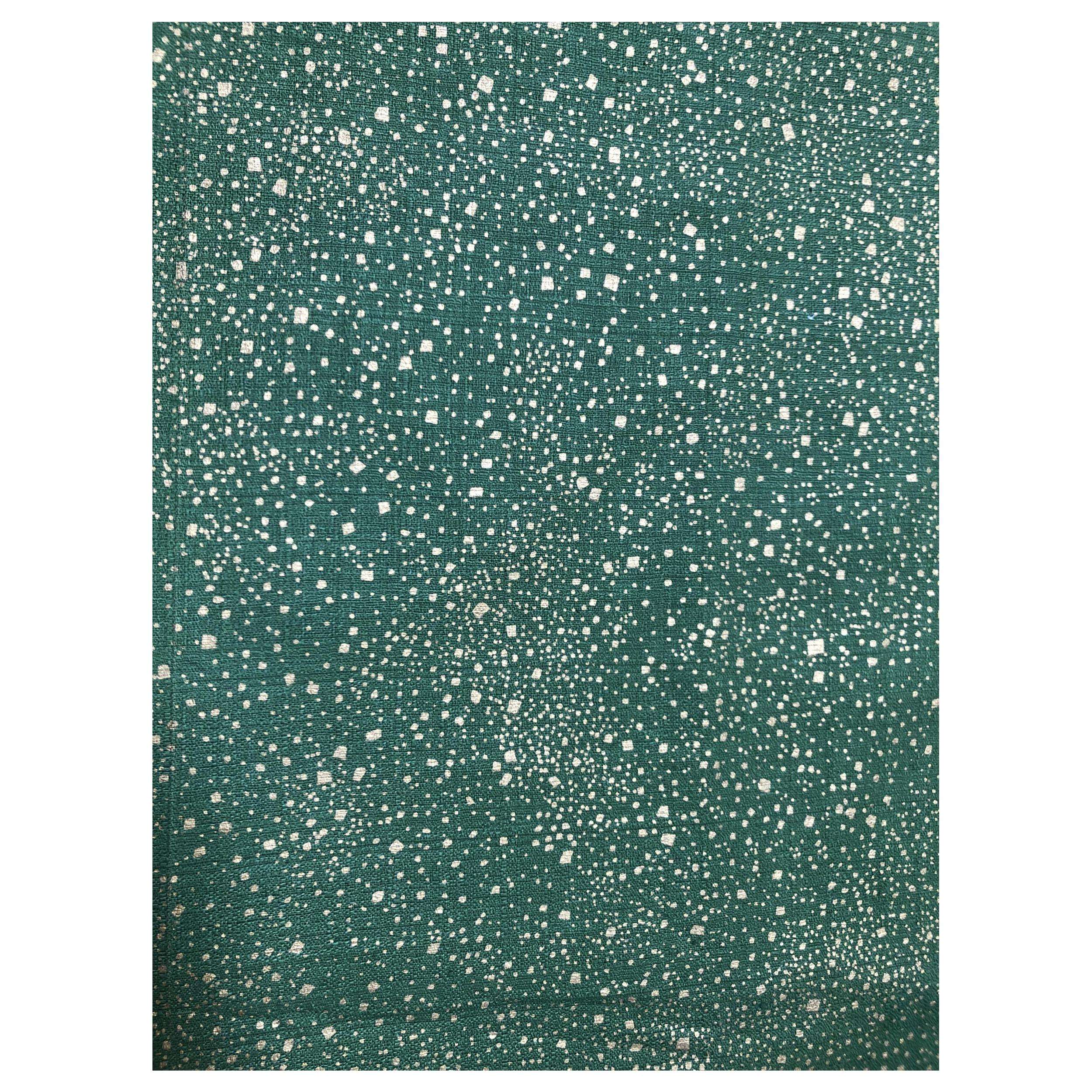 Vintage Mid-Century Green Barkcloth with Gold Speckles
