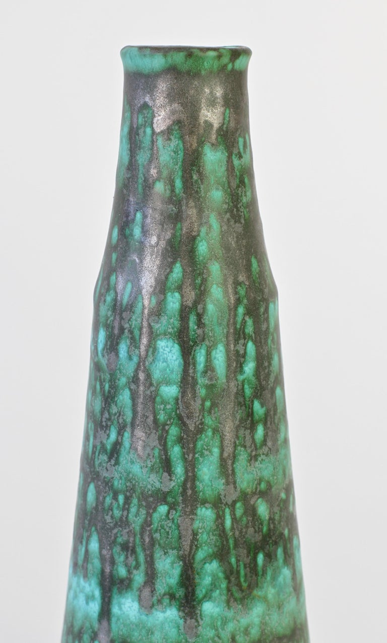 Vintage Midcentury Green and Graphite Glazed Vase by Waechtersbach, 1950s For Sale 1