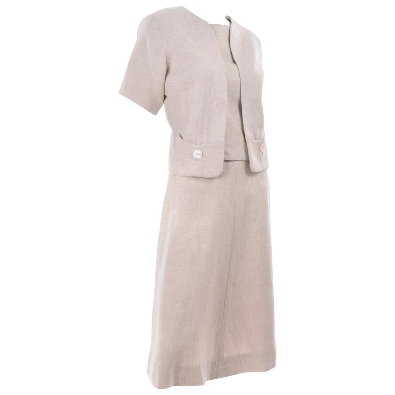 Vintage Mid Century I Magnin Linen Skirt Sleeveless Top & Jacket Outfit