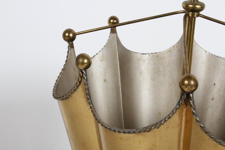 Hollywood Regency Vintage Mid-Century Italian Brass Umbrella Form Umbrella Stand For Sale