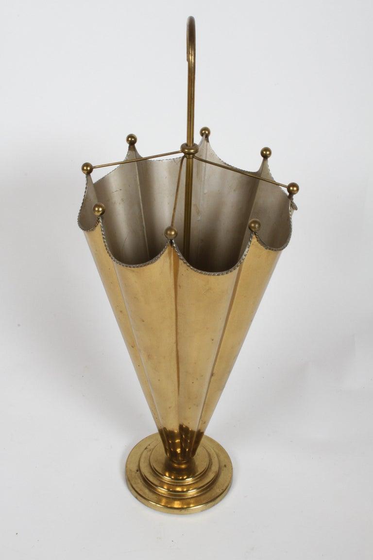 Vintage Mid-Century Italian Brass Umbrella Form Umbrella Stand For Sale 2