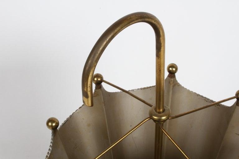 Vintage Mid-Century Italian Brass Umbrella Form Umbrella Stand For Sale 3