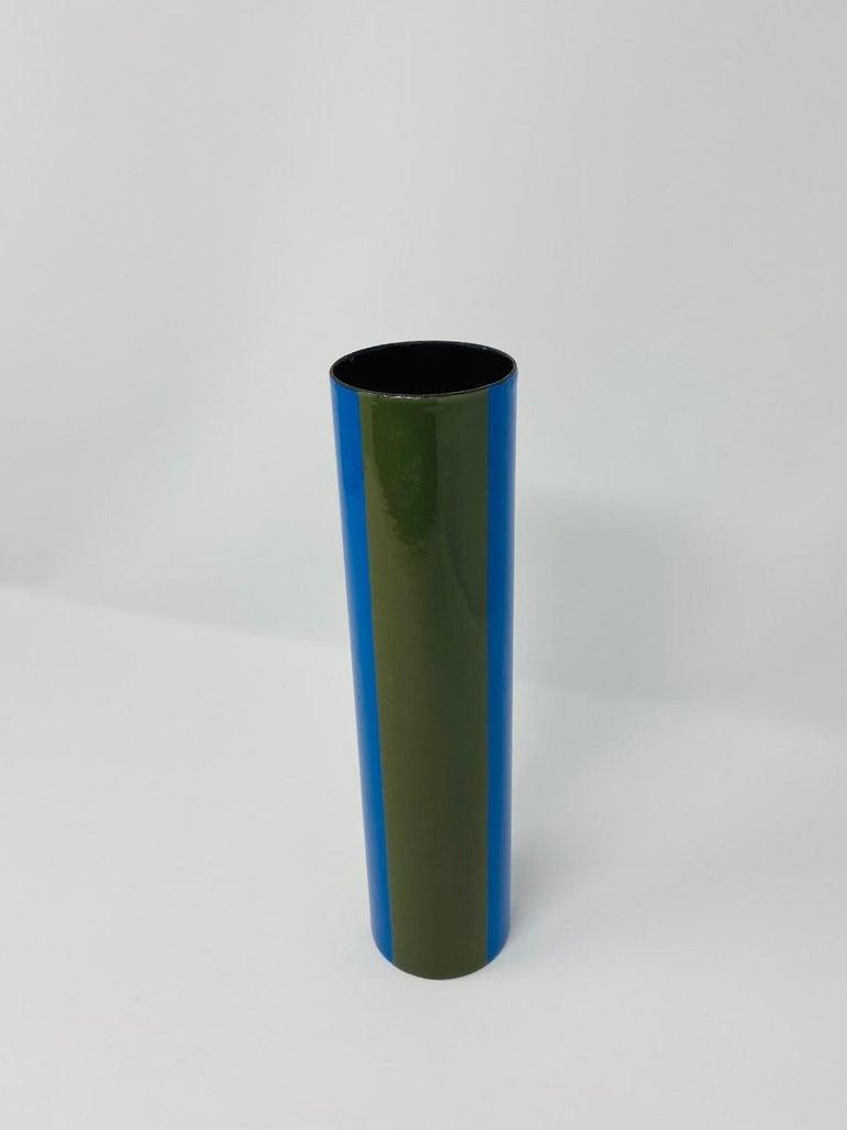 Steel Vintage Midcentury Italian Enamel Vase by Vallenti For Sale
