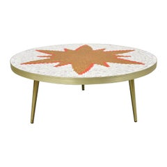 Vintage Midcentury Italian Modern Round Orange Sun Tile Top Coffee Table