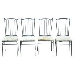 Vintage Mid Century Italian Modern Wrought Iron Patio Dining Chairs - Set of 4