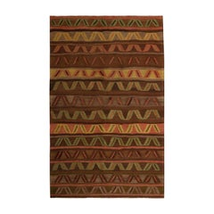 Vintage Midcentury Kars Geometric Brown and Green Wool Kilim Rug