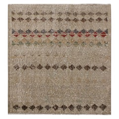 Vintage Midcentury Khaki Brown Wool Rug with Lively Accents