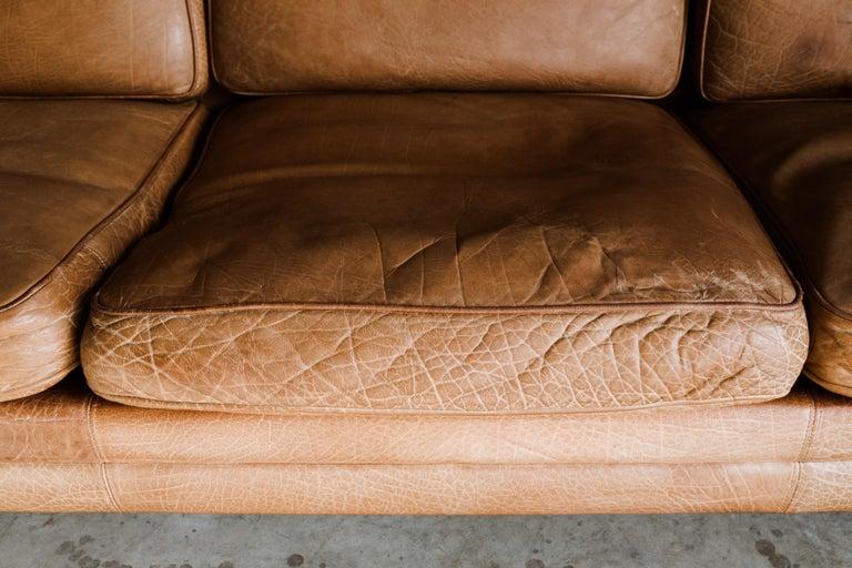 European Vintage Midcentury Leather Sofa from Denmark, circa 1970 For Sale