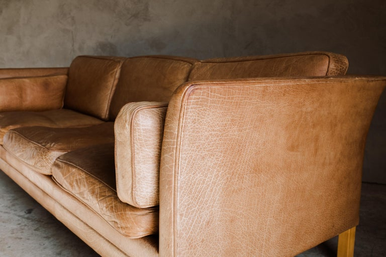 Vintage Midcentury Leather Sofa from Denmark, circa 1970 In Good Condition For Sale In Nashville, TN