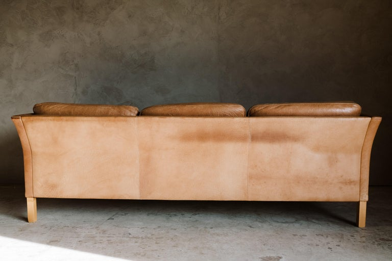 Late 20th Century Vintage Midcentury Leather Sofa from Denmark, circa 1970 For Sale