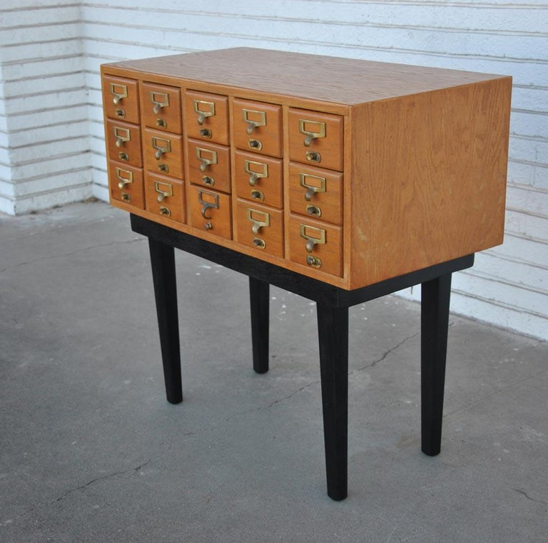 Vintage Midcentury Library Card Catalogue Console For Sale 1