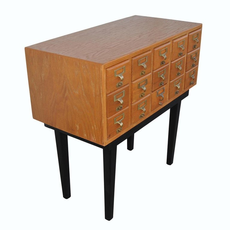 Vintage Midcentury Library Card Catalogue Console For Sale 2
