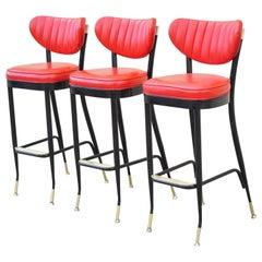 Vintage Midcentury Lion Brand Black Red Vinyl Italian Style Barstools, a Pair