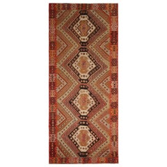Vintage Midcentury Malatya Geometric Orange Multi-Color Wool Kilim Rug