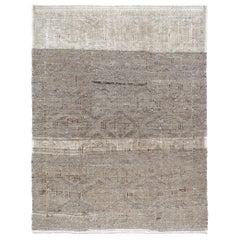 Vintage Midcentury Minimalist Tribal Flat-Weave Rug