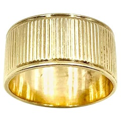 Vintage Mid-Century Modern 14K Yellow Gold Classic Reeded Wide Cigar Band Ring
