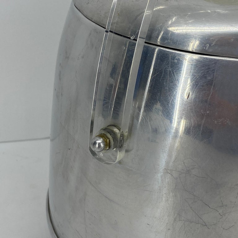 Vintage Mid-Century Modern Aluminum and Lucite Ice Bucket and Tongs For Sale 9