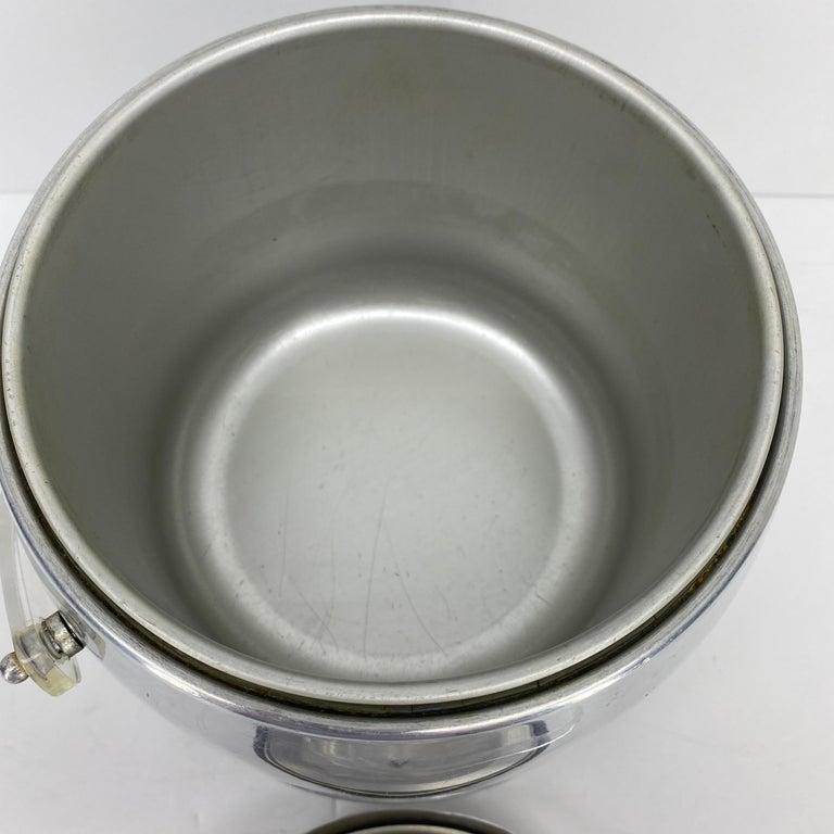 Vintage Mid-Century Modern Aluminum and Lucite Ice Bucket and Tongs For Sale 10