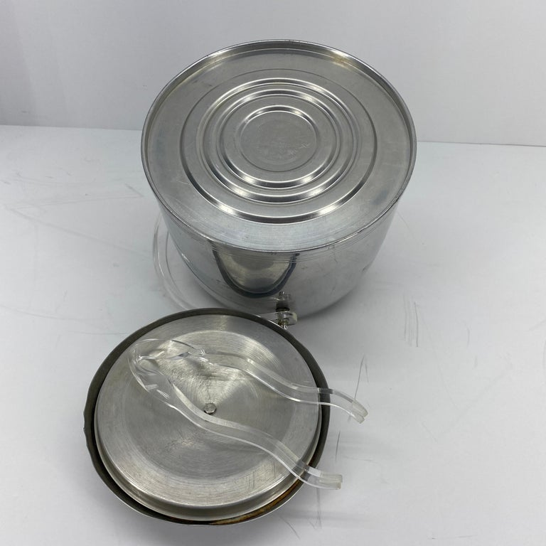 Vintage Mid-Century Modern Aluminum and Lucite Ice Bucket and Tongs For Sale 11