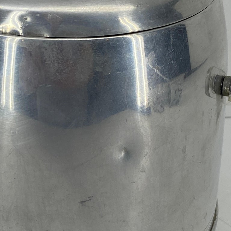 Vintage Mid-Century Modern Aluminum and Lucite Ice Bucket and Tongs For Sale 13