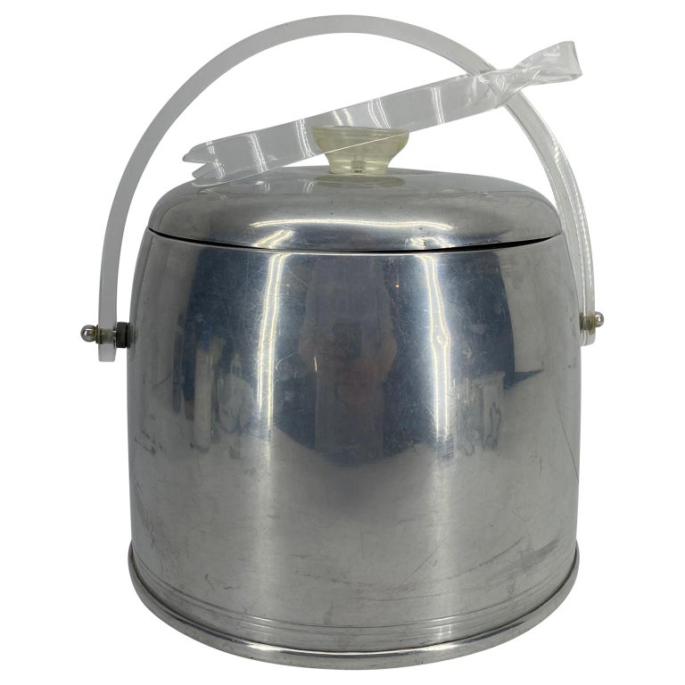Italian Vintage Mid-Century Modern Aluminum and Lucite Ice Bucket and Tongs For Sale