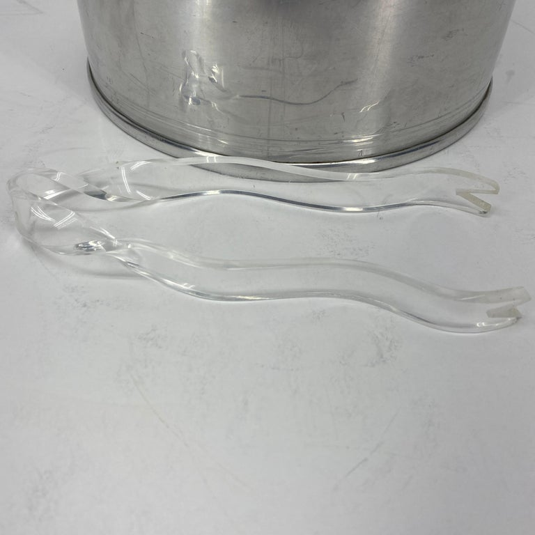 Vintage Mid-Century Modern Aluminum and Lucite Ice Bucket and Tongs For Sale 15