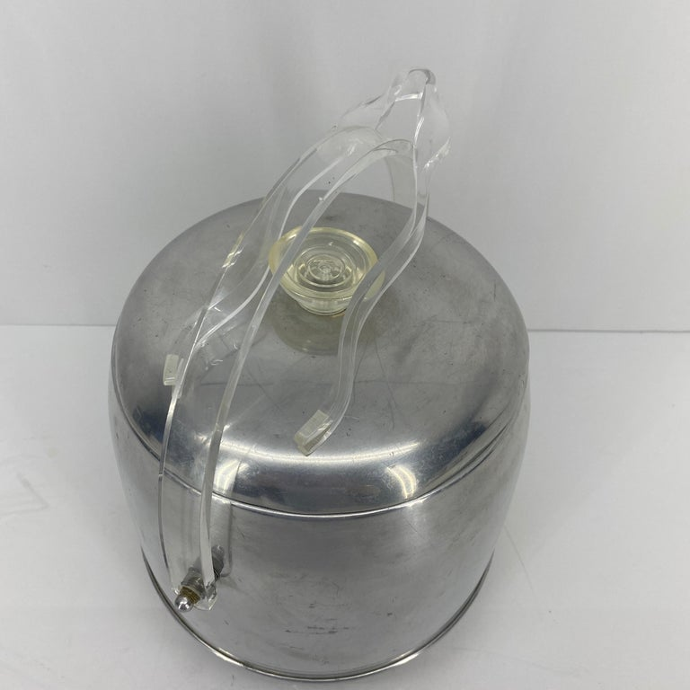 20th Century Vintage Mid-Century Modern Aluminum and Lucite Ice Bucket and Tongs For Sale