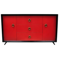 Vintage Mid-Century Modern Art Deco Black and Red Credenza Sideboard by Harjer