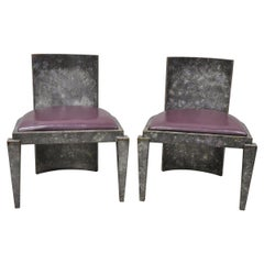 Vintage Mid-Century Modern Art Deco Purple and Gray Club Game Chairs, a Pair