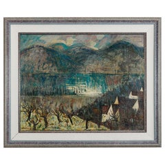 Vintage Mid-Century Modern Artist Signed Mountain Scene Landscape, circa 1960