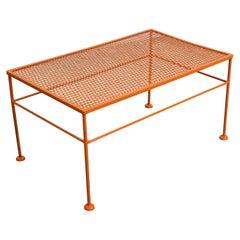 Vintage Mid-Century Modern Atomic Orange Metal Coffee Table