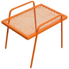 Vintage Mid-Century Modern Atomic Orange Metal End Table